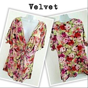 Velvet Gasthered Front Blouse BOHO Abstract Roses